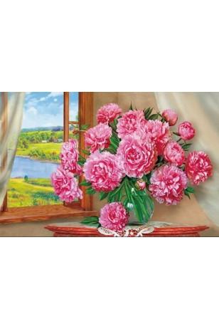 Elmas Boyama  - Cam  Önü Pembe Çiçekler 30x40 Cm