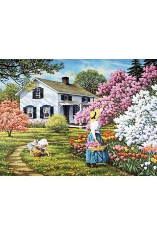 Elmas Boyama - Çiçek Toplayan Anne-Kız 30x40 Cm