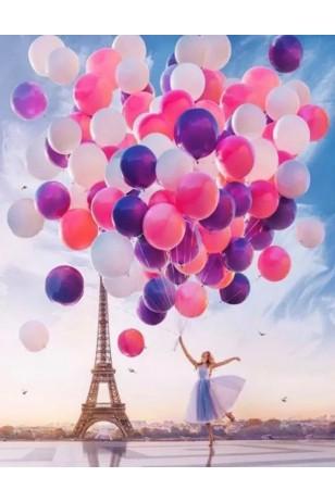 Elmas Boyama  - Eyfel Kulesi ve Balonlar 30x40 Cm