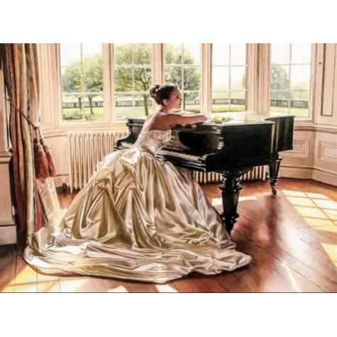 Elmas Boyama - Gelinlikli Kadın ve Piyano 30x40 Cm