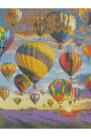 Elmas Boyama  - Lavanta Bahçesi ve Sıcak Hava Balonları 30x40 Cm