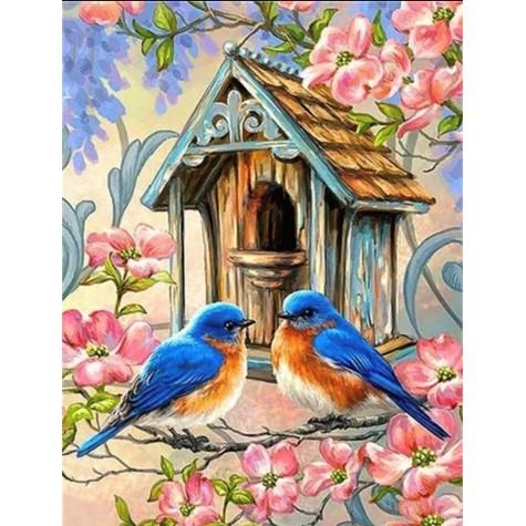 Elmas Boyama - Mavi Kuşlar ve Kuş Evi 30x40 Cm