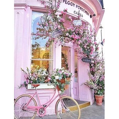 Elmas Boyama - Pembe Cafe ve Bisiklet 30x40 Cm