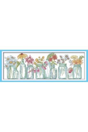 Kanvas Kanaviçe Cam Vazoda Çiçekler Dikiş Seti 52x20cm
